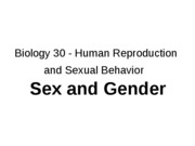 Outline Sex, Gender and Gender Roles, Intersex, Transgender