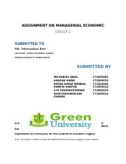 ASSIGNMENT ON MANAGERIAL ECONOMIC MBA-2_14_08_2017_22_53