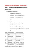 Business Process Management Systems Notes