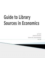 Guide to Library Sources in Economics
