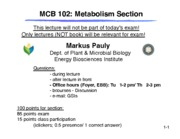 Metabolism and Reader Lecture Notes Ch. 1-7