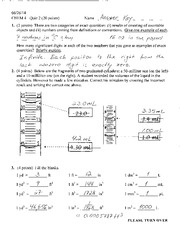Quiz 2 Solution Summer 2014 on General Cheistry