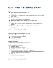 MGMT 6694 – Business Ethics In Class Notes
