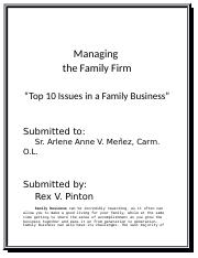 Managing the Family Firm