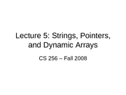 Strings, Pointers and Dynamic Arrays