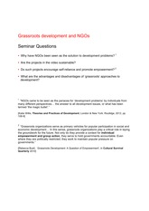 Grassroots Development seminar questions