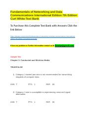 Fundamentals of Networking and Data Communications International Edition 7th Edition Curt White-Test