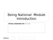 Lecture 8 -- Being National -- Module Introduction