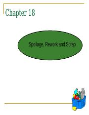 Chapter 18 Spoilage, Rework and Scrap