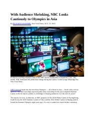 GU SIM SL&M F16 With Audience Shrinking, NBC Looks Cautiously to Olympics in Asia NYT 082216.docx