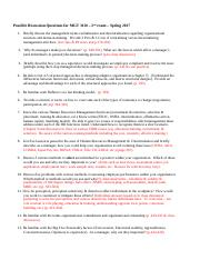 Possible Discussion Questions for MGT 3110 - 2nd exam Spring 2017 review pages copy.docx