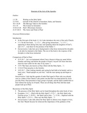 Acts of the Apostles Outline - Notes