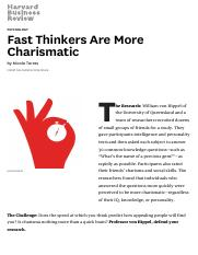 Fast Thinkers Are More Charismatic