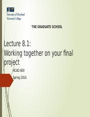HCAD 600 - Lecture 8.1 - Working together on your final project