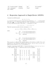 Notes Part 4 - Regression Approach to Single Factor Anova