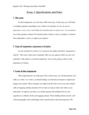 Essay_1_Specifications