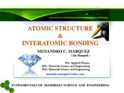MSE 20 - 003 ATOMIC STRUCTURE