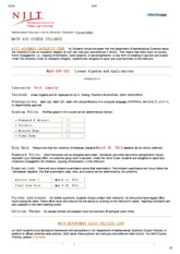 MATH 630 COURSE SYLLABUS