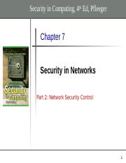 Chapter 7 - part 2- Network Security control
