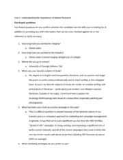 Marketing Research Interview Questions