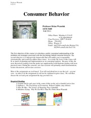 Consumer Behavior Syllabus 3440 Updated 8-22-11