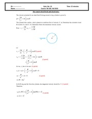 Quiz 10 2010 Solution on Intermediate Mechanics of Fluids