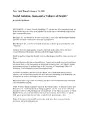 Social Isolation, Guns and a 'Culture of Suicide' NYT 2-13-05