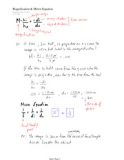 PHYS 11 Magnification & Mirror Equation Notes