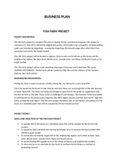 BUSINESS PLAN FOR THE FISH PROJECT