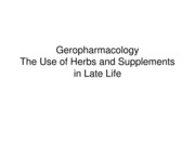 Nursing 313-Geropharmacology and Use of Herbs and Supplements