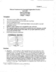 Federal Trademark and Copyright Registration Practice_Final Exam 5