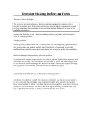 Decision Making Reflection Form