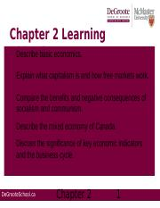 Week 2 Chapter 2; Economics and Business