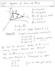 10.5 Equations of lines and Planes