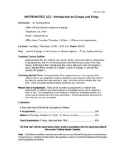 Course Outline, Fall 2012