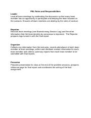 PBL Roles and Responsibilities