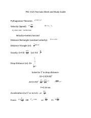 PSC 1121 Test 1 Formula Sheet and Study Guide