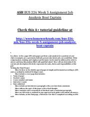 ASH BUS 226 Week 5 Assignment Job Analysis Boat Captain.doc