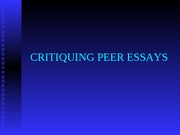 Critiquing Peer Essays
