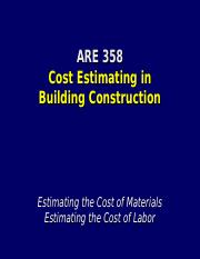 Lecture 8 - Estimating Materials and Labor