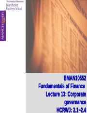 Lecture 13: Corporate Governance
