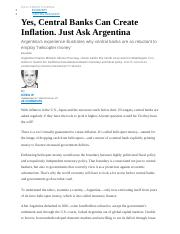 Yes, Central Banks Can Create Inflation, Just ask Argentina    WSJ 4 28 16 (Autosaved).docx