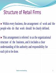 7& 8 FM  Structure of Retail firms & Garment Industry