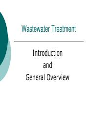 Introduction and General Overview of Wastewater Treatment