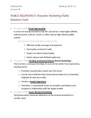 Lecture 18 - PUBLIC RELATIONS II