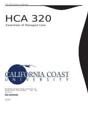 HCA 320 - Essentials of Managed Healthcare (Study Guide).docx