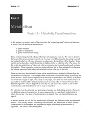 Week 11 - Topic 11 Metabolism I