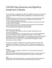 9 CSCI203 Data Structures And Algorithms Assignment 2.doc