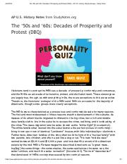 The '50s and '60s: Decades of Prosperity and Protest (DBQ) - AP U.S. History Sample Essays - Study N