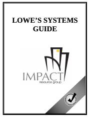 lowes-genesis-systems-guide pdf - LOWES SYSTEMS GUIDE TABLE OF